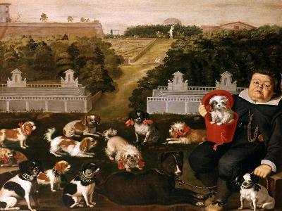 Dogs Belonging to the Medici Family in the Boboli Gardens-Tiberio Di Tito-Giclee Print
