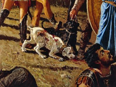 Dogs in Battlefield, Detail from the Triumph of Marius-Francesco Saverio Altamura-Giclee Print