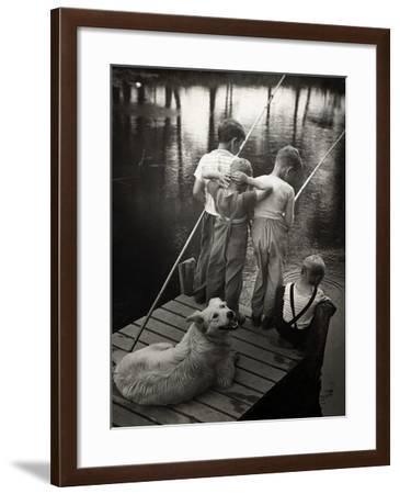 Dogs Supervising Fishing Boys--Framed Photographic Print