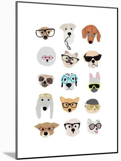 Dogs with Glasses-Hanna Melin-Mounted Art Print