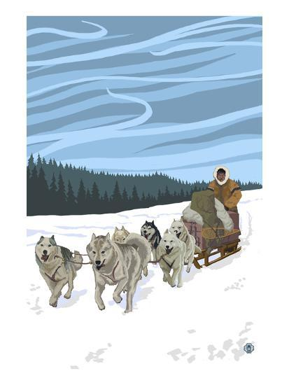 Dogsledding Scene-Lantern Press-Art Print