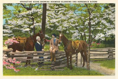Dogwood Blossoms, Horses--Art Print