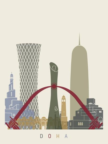 Doha Skyline Poster-paulrommer-Art Print