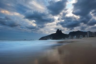 Dois Irmaos Peaks in the Distance on Ipanema Beach at Sunset-Alex Saberi-Photographic Print