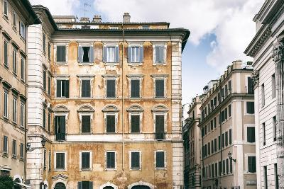 Dolce Vita Rome Collection - Dark Yellow Buildings Facade-Philippe Hugonnard-Photographic Print