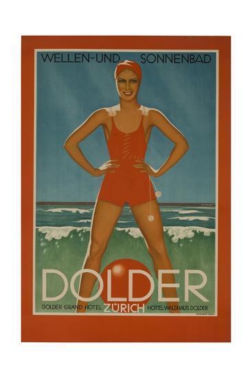 Dolder Grand Hotel Zurich Switzerland Travel Poster Wellen-Und Sonnenbad--Giclee Print