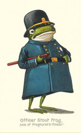 Doleful Frog as Policeman