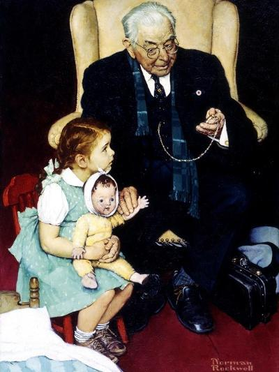 Doll Checkup (or Doll Pretending to Check up Doll)-Norman Rockwell-Giclee Print