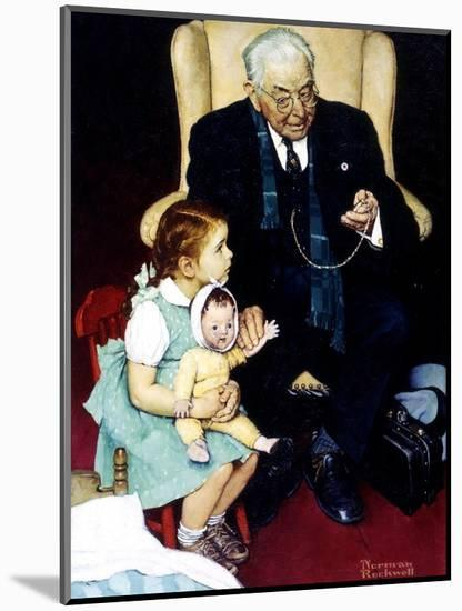 Doll Checkup (or Doll Pretending to Check up Doll)-Norman Rockwell-Mounted Giclee Print