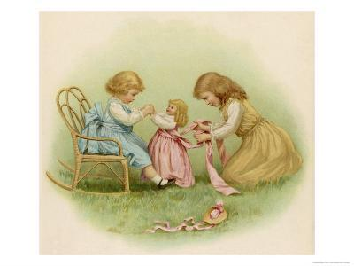 Doll is Dressed by Two Girls One in Front of Her While the Other Ties Her Sash Behind-Ida Waugh-Giclee Print