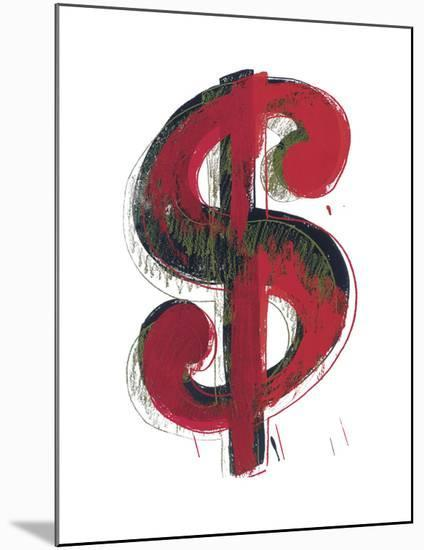 Dollar Sign, 1981 (red)-Andy Warhol-Mounted Art Print