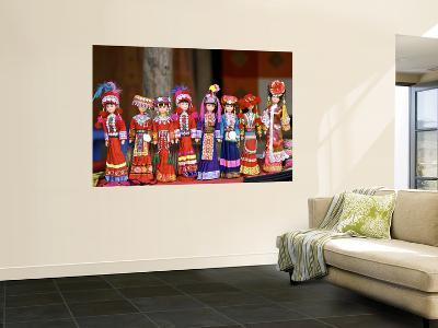 Dolls in Hill-Tribe Costumes for Sale at Sunday Market-Nicholas Reuss-Wall Mural
