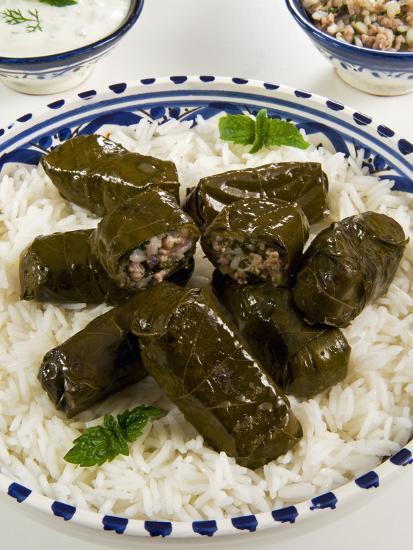Dolma (Dolmades), Grape Leaves Stuffed with Meat and Rice, Turkey and Greece-Nico Tondini-Photographic Print