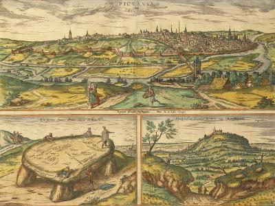 Dolmen Near Poitiers and City of Poitiers and Montherre from Civitates Orbis Terrarum--Giclee Print