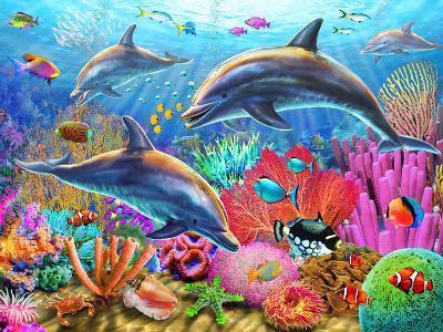 Dolphin Fun-Adrian Chesterman-Art Print