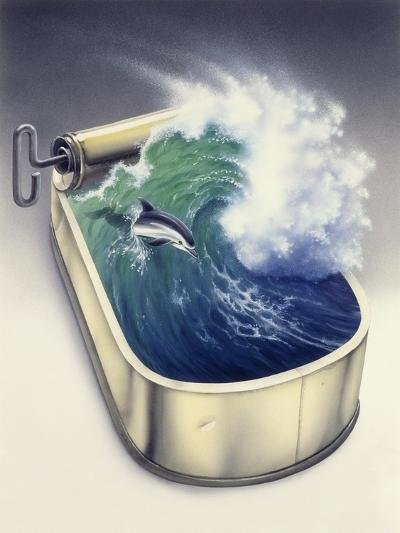 Dolphin in Wave-Harro Maass-Giclee Print