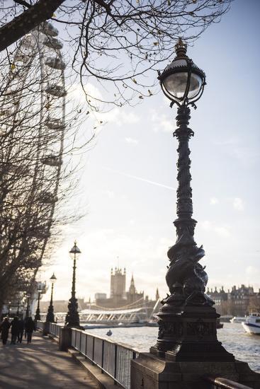 Dolphin Lamp Post, South Bank, London, England, United Kingdom, Europe-Matthew Williams-Ellis-Photographic Print