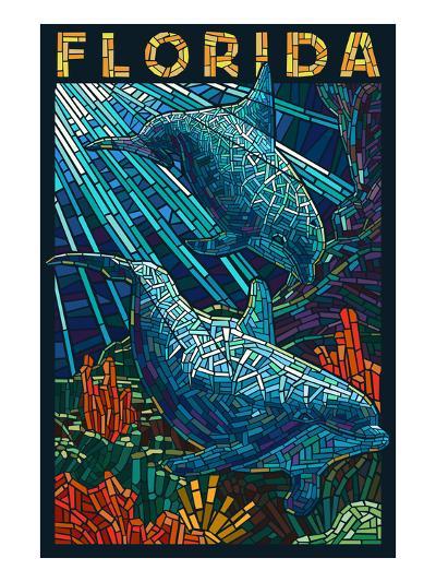 Dolphin Paper Mosaic - Florida-Lantern Press-Art Print