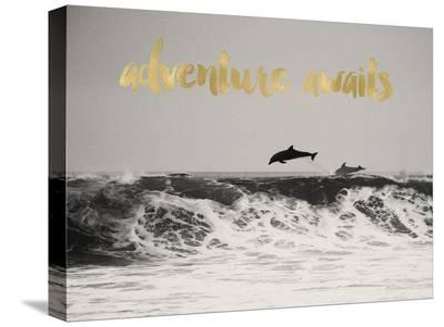 Dolphins Adventure Awaits Golden-Amy Brinkman-Stretched Canvas Print