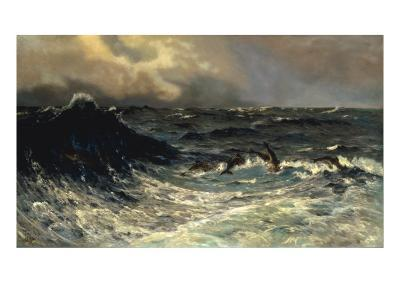 Dolphins in a Rough Sea, 1894-Thorvald Niss-Giclee Print