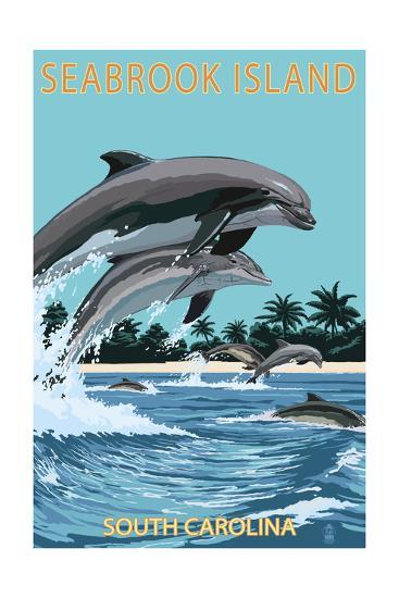Dolphins Jumping - Seabrook Island, South Carolina-Lantern Press-Art Print
