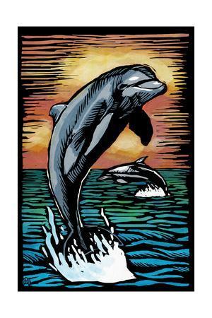 Dolphins - Scratchboard-Lantern Press-Art Print