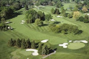 Oakland Hills Country Club, Hole 18 aerial by Dom Furore