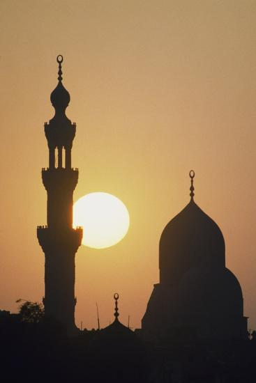 Dome and One of Minarets of Al-Rifa'I Mosque at Sunset, Cairo, Egypt--Photographic Print