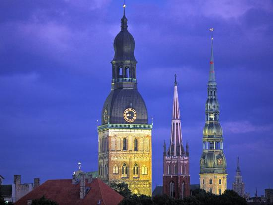 Dome Cathedral, St. Peter's and St. Saviour's Churches, Riga, Latvia-Peter Adams-Photographic Print