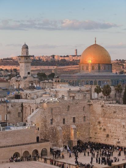 Dome of the Rock and the Western Wall, Jerusalem, Israel, Middle East-Michael DeFreitas-Photographic Print