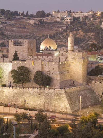 Dome of the Rock with Tower of David Museum, at Jaffe Gate in Jerusalem's Old City-Richard Nowitz-Photographic Print