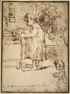 Caricature of the Aldobrandini Theologian, with a Female Dwarf Holding Her Dog by Domenichino