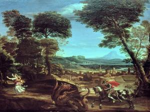 Landscape with St.George and the Dragon, circa 1610 by Domenichino
