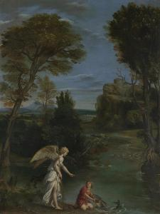 Landscape with Tobias Laying Hold of the Fish, C. 1612 by Domenichino
