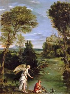 Landscape with Tobias Laying Hold of the Fish, circa 1615 by Domenichino