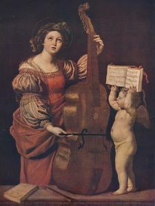 'Saint Cecilia with an angel holding a musical score', 1617-1618 by Domenichino