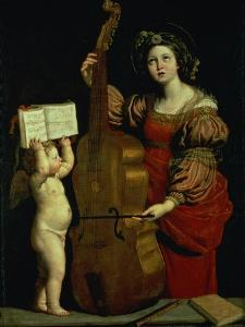 St. Cecilia with an Angel Holding a Musical Score, circa 1620 by Domenichino
