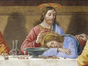 Jesus and St. John, Detail from Last Supper, 1485 by Domenico Ghirlandaio
