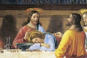 Refectory of Convent of San Marco, Jesus and St John, Detail from Last Supper, 1485 by Domenico Ghirlandaio