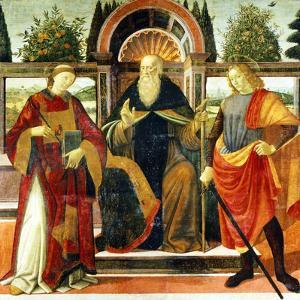 St Anthony Abbot on Throne Surrounded by Saints Leonardo and Giuliano by Domenico Ghirlandaio