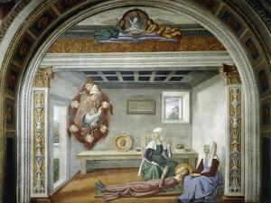 St. Gregory Announcing to St. Fina Her Approaching Death, 1475 by Domenico Ghirlandaio