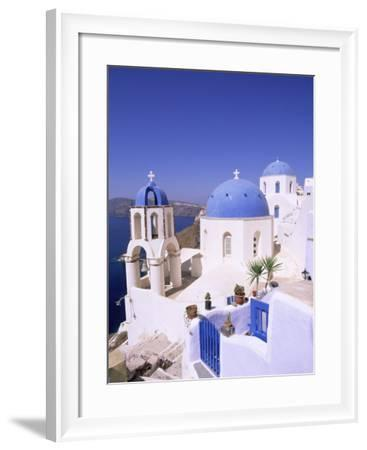Domes and Bell Tower of Blue and White Christian Church, Oia, Santorini, Aegean Sea, Greece-Sergio Pitamitz-Framed Photographic Print