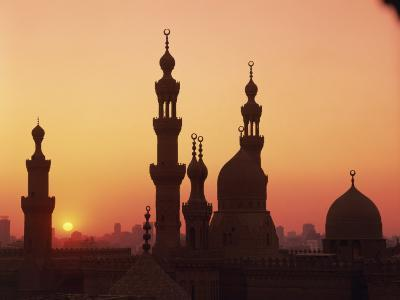 Domes and Minarets Silhouetted at Sunset, Cairo, Egypt, North Africa, Africa--Photographic Print