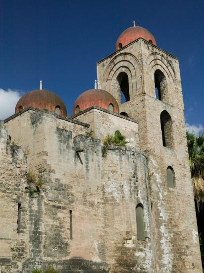 Domes of the San Giovanni degli Eremiti Church, Palermo, Sicily, Italy-Walter Bibikow-Photographic Print