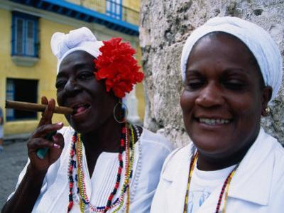 Black Women in White Clothing Pose for Tourists, Havana, Cuba by Dominic Bonuccelli