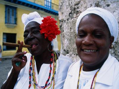 Black Women in White Clothing Pose for Tourists, Havana, Cuba