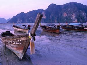Longtail Boats on Ao Ton Sai Beach at Low Tide, Ko Phi-Phi Don, Krabi, Thailand by Dominic Bonuccelli