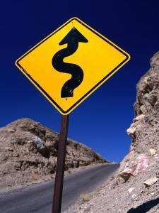 Sign Warning of a Curvy Road, Near the Artist's Palette, Nevada by Dominic Bonuccelli