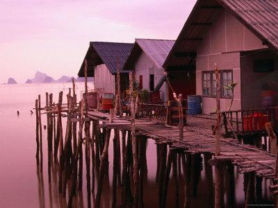 Stilt Houses at Dusk, Ko Panyi, Phang-Nga, Thailand