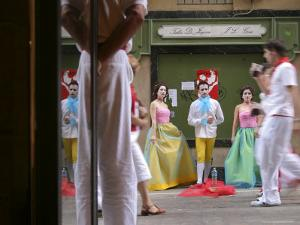 Trio of Painted and Costumed Street Performers Sing Opera on Calle Estafeta by Dominic Bonuccelli